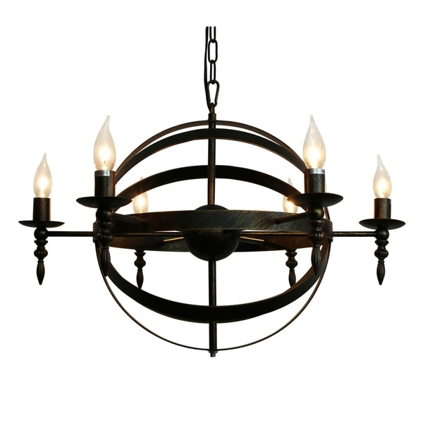 Old World 6 Light Rustic Globe Pendant Chandelier - Copper