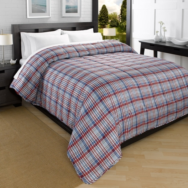 Campus Plaid Printed Down Alternative Ultra Lightweight Comforter
