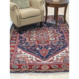 Hand-knotted Wool Blue Traditional Geometric Heriz Rug - 4' x 6'