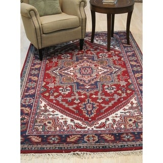 Hand-knotted Wool Red Traditional Geometric Heriz Rug - 6' x 9'