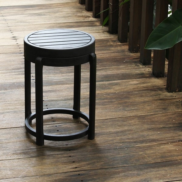 Cambridge Casual Alston Painted Side Table & Stool - Black