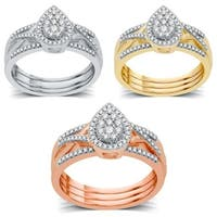 AMOUREUX 14k Gold 3/8 TDW Diamond Pear-Shaped Three Piece Bridal Set I-J, I1-I2 - White I-J