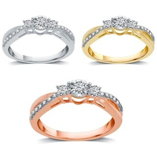 AMOUREUX 10k Gold 1/4 TDW Diamond Three Stone Engagement Ring (I-J, I2-I3) - White I-J