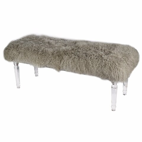 Soft to Touch Brown Mongolian Fur Bench