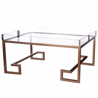 Benzara Downrightly Flashy Copper Metal and Glass Coffee Table