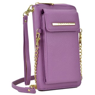 Dasein All-In-One Crossbody Wallet with Phone Case and Detachable Chain Strap (Option: Purple)