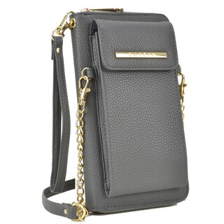 Dasein All-In-One Crossbody Wallet with Phone Case and Detachable Chain Strap (Option: Grey)
