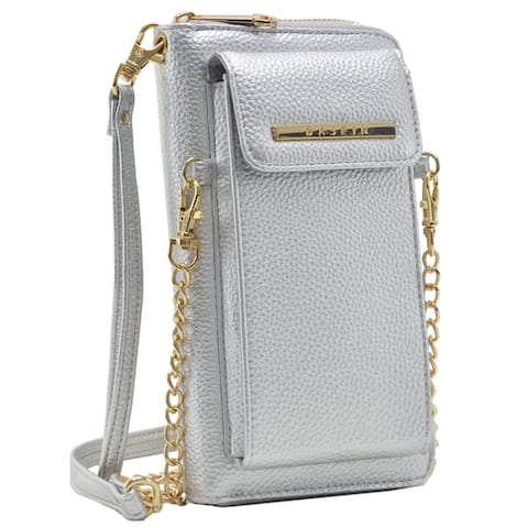 Dasein Faux Leather Organizer Crossbody Bag w/ Detachable Chain Strap