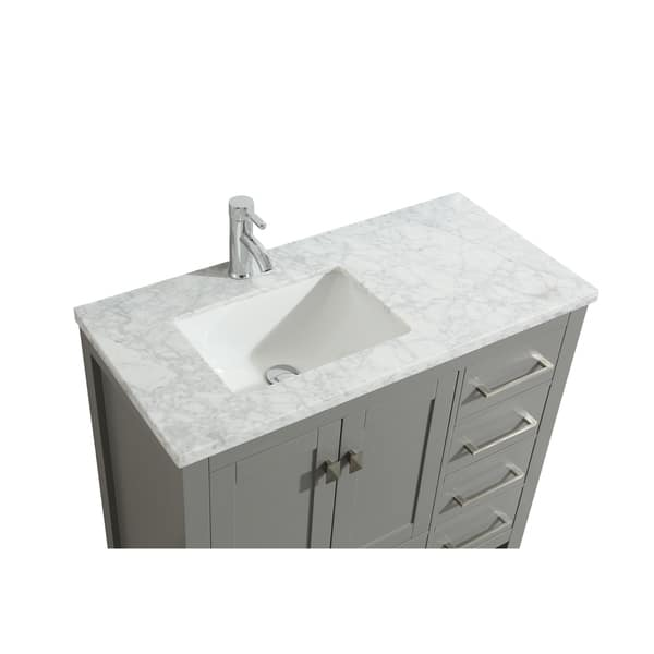 Eviva London 36 X 18 Inch Gray Transitional Bathroom Vanity With White Carrara Marble Countertop And Undermount Porcelain Sink Overstock 18269285