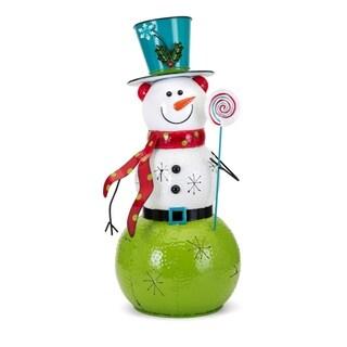 Whimsy Christmas Large Snowman Lantern - Multicolor - Benzara