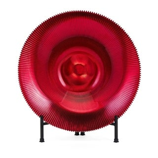 Christmas Rufina Red Glass Bowl with Stand - Benzara