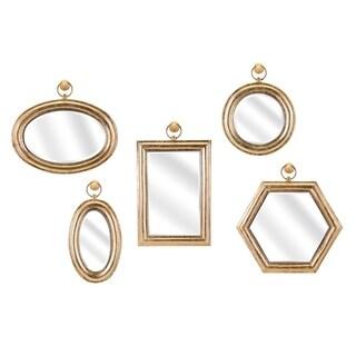 Benzara Rylan Gold Wall Mirrors (Assortment of 5)