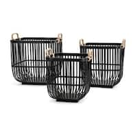 Rit Baskets-Set of 3- Black - Benzara