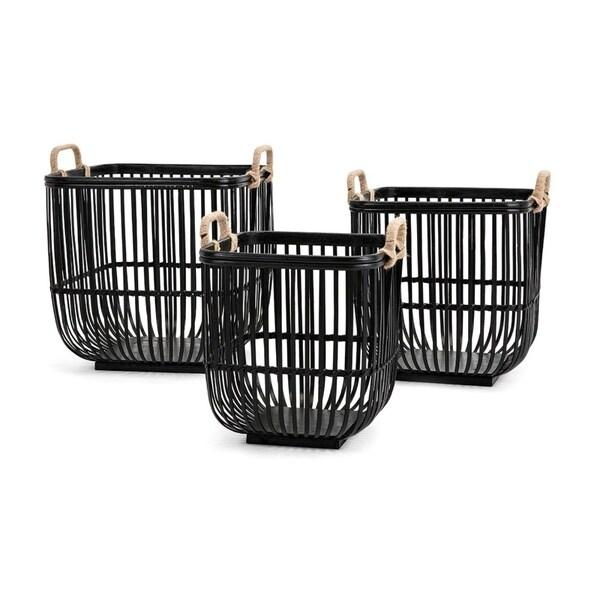 Rit Baskets-Set of 3- Black - Benzara