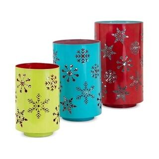 Whimsy Christmas Snowflake Lanterns - Set of 3 - Muticolor - Benzara