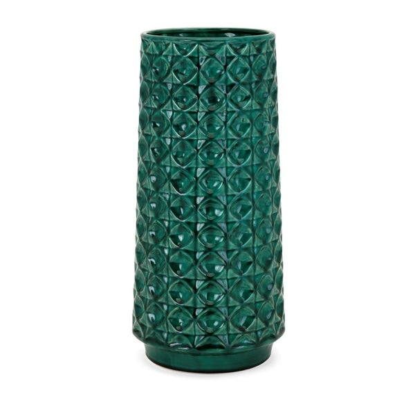 Kian Cylindrical Shaped Vase With Pattren - Green- Benzara
