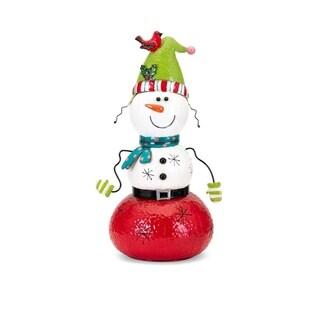 Whimsy Christmas Small Snowman Lantern - Multicolor - Benzara