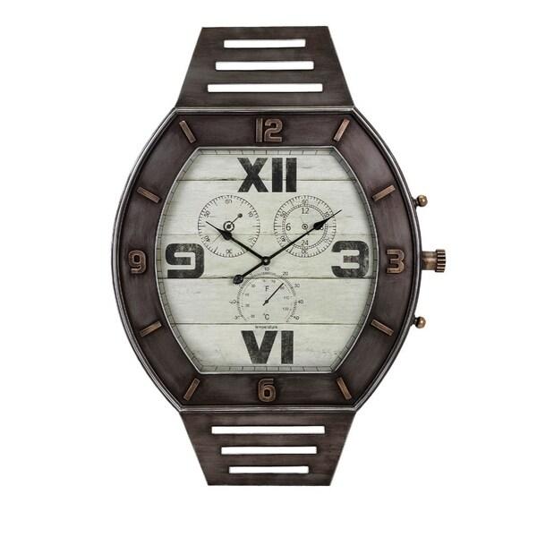 Monteal Wall Clock, Gray - Benzara