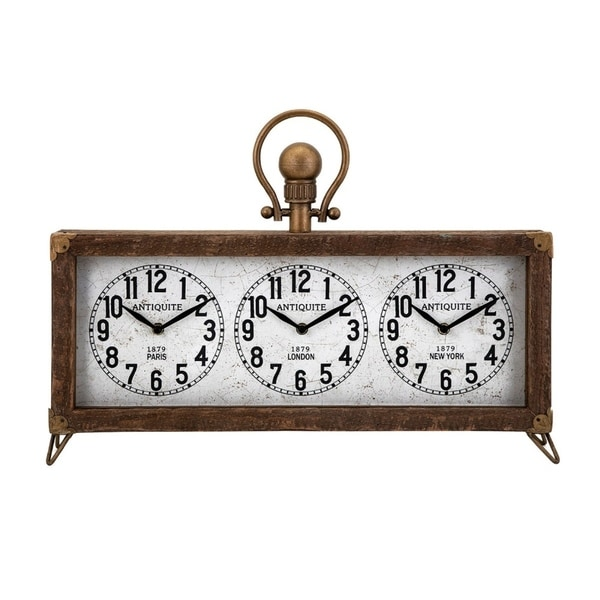 Westville Clock With Hanger -Brown - Benzara
