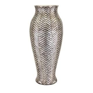 Sightly Dunbar Oversized Floor Vase - Silver - Benzara