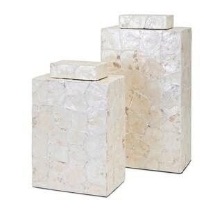 Marisol Shell Container - Set of 2 - Cream- Benzara