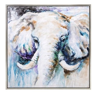Benzara 'Ashen Tusks' Framed Oil Painting With Silvertone Wood Frame