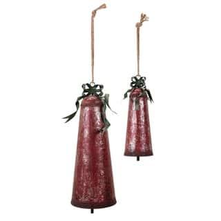 Homestead Christmas Oversized Bells - Set of 2 - Red - Benzara