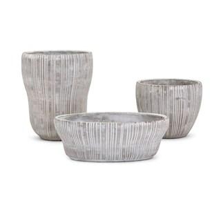 Hudson Cement Flower Pots - Set of 3- Benzara