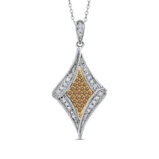 10K Two-Tone Gold 1/4ct TDW White and Brown Diamond Fashion Pendant (G-H, I2-I3)|https://ak1.ostkcdn.com/images/products/18270873/P24405548.jpg?impolicy=medium