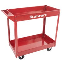Metal Service Utility Cart, Heavy Duty Supply Cart with Two Storage Tray Shelves- 330 lbs Capacity By Stalwart (Red)