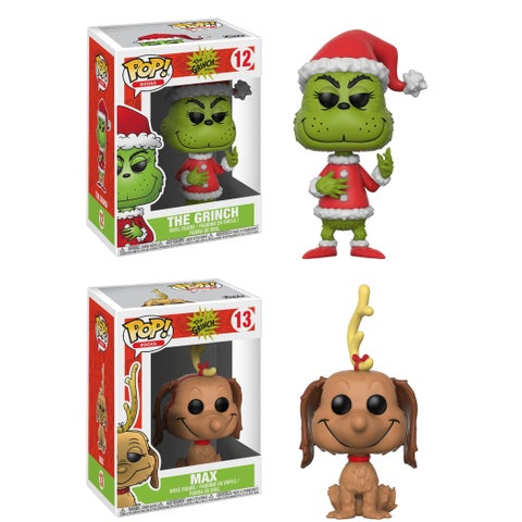 Funko POP! Books The Grinch Collectors Set; Santa Grinch (Possible Chase Limited Color Variant), Max the Dog