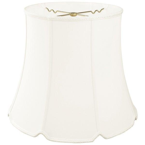 Royal Designs Tall Drum Bottom V-Notch Designer Lamp Shade, White, 10 x 14 x 11.5