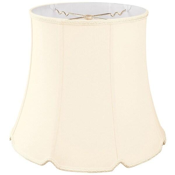 Royal Designs Tall Drum Bottom V-Notch Designer Lamp Shade, Eggshell, 8.5 x 12 x 9.5