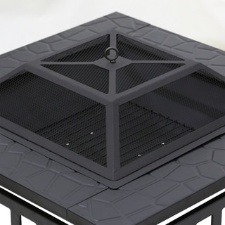 Havenside Home York Outdoor Square Fire Pit, Black (Fire Pits)