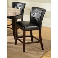 Zanic Black Faux Leather Button Tufted Back Counter Height Parsons Stools, Set of 2