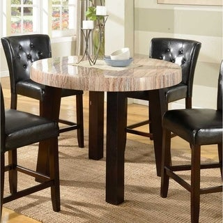 Zanic Round Contemporary Faux Marble Counter Height Dining Table, Ivory Espresso - Brown