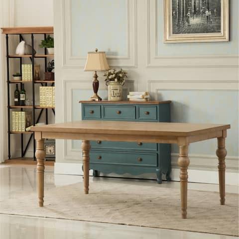 Habitanian Urban Style Wood White Wash Turned-Leg Dining Table - Brown