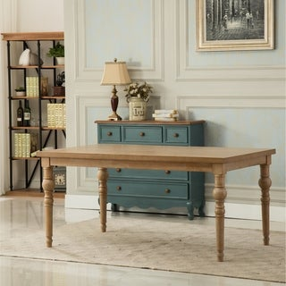 Habitanian Urban Style Wood White Wash Turned-Leg Dining Table - Brown