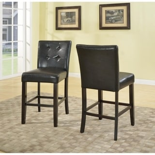 Horologium Black Faux-leather Button-tufted Counter-height Dining Chair (Set of 2)