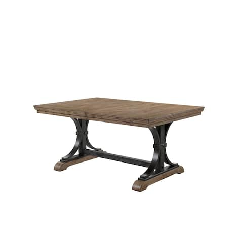 Dasher Nailhead Driftwood Finish Butterfly Leaf Table with Metal Frame