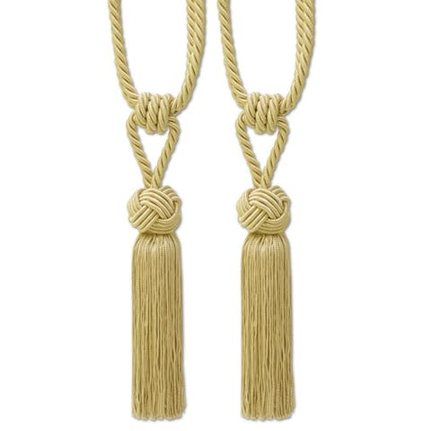 Braided Knot Tassel Tieback Set of 2 (Assorted Colors) - 9 inches - 9 inches