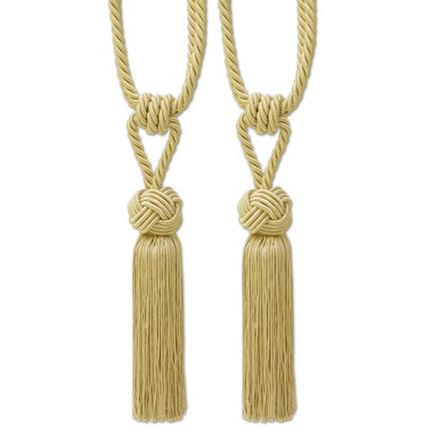 Braided Knot Tassel Tieback Set of 2 (Assorted Colors) - 9 inches