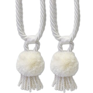 Pom Pom Braided Tassel Tieback Set of 2 (Assorted Colors) - 6 inches