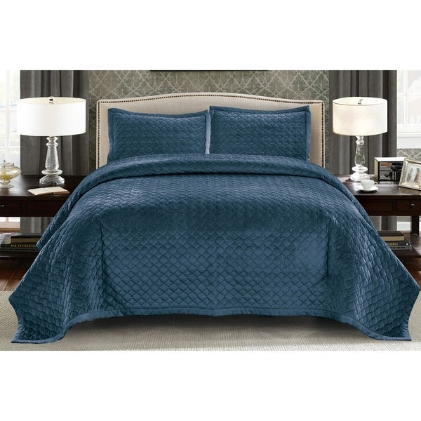 Wonder Home Wilford 3pc Velvet Solid Quilt Set Free Shipping Today