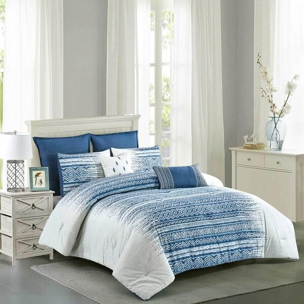 Dorian Cotton Printed Comforter Set in Blue