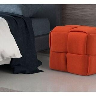 Pyper Marketing Bronco Orange Fabric Blend Upholstered Cushioned Rectangular Entryway Bench