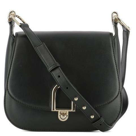 Michael Kors Delfina Large Black Leather Saddlebag Crossbody Handbag