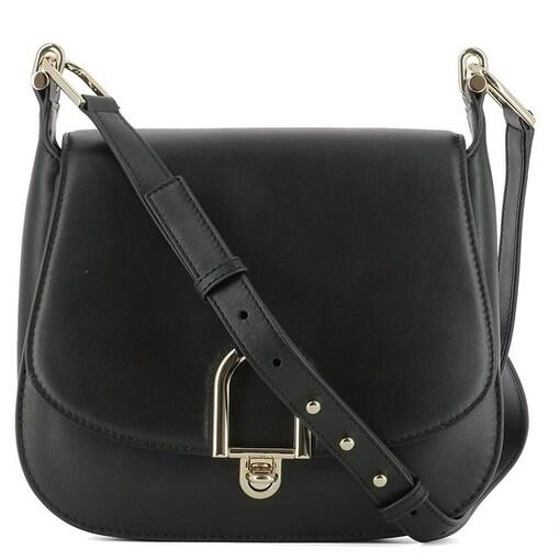 b4421c2fc96d Shop Michael Kors Delfina Large Black Leather Saddlebag Crossbody Handbag -  Free Shipping Today - Overstock - 18271634