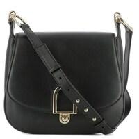 e09eaad8fe14 Michael Kors Delfina Large Black Leather Saddlebag Crossbody Handbag