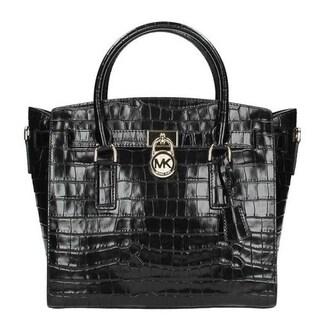 Michael Kors Hamilton Embossed Black Leather Satchel Handbag